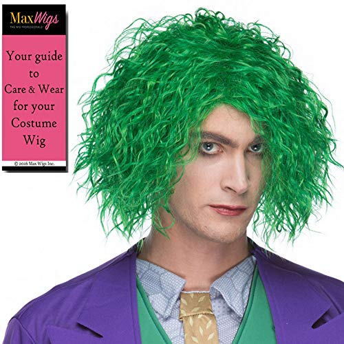 (Maniac Villain Color Green - Sepia Wigs Messy Wild Insane Crazy Comic Book Joker Movie Synthetic Cosplay Halloween Dress Up Fancy Bundle MaxWigs Hairloss)