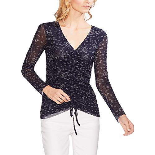 Vince Camuto Womens Floral Drawstring Top (Classic Navy, X-Large)