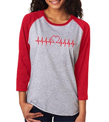SignatureTshirts Women's Valentines Day Heart Beat Doctor Nurse 3/4 T-Shirt L Red