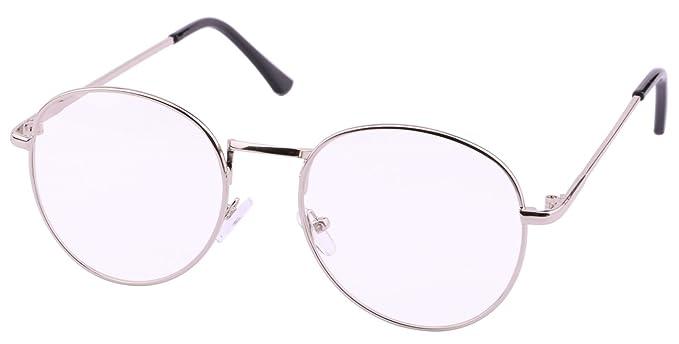 Küssen U Klassisch Retro Oval Nerd Metallrahmen Klare Linse Mode Nicht Verschreibungspflichtige Augen Brille (Gold) MMZV66TDl