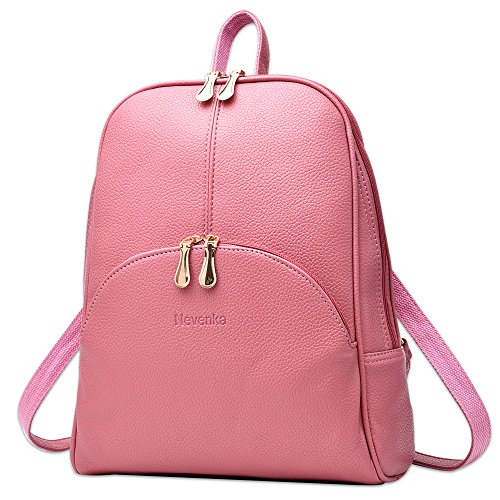 Nevenka Brand Women Bags Backpack PU Leather Zipper Bags Purse Casual Backpacks Shoulder Bags (PINK)