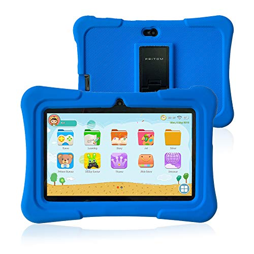 Pritom 7 inch Kids Tablet, Quad Core Android,1GB RAM+16GB ROM, WiFi,Bluetooth,Dual Camera, Educationl,Games,Parental Control,Kids Software Pre-Installed with Kids-Tablet Case (Dark Blue)