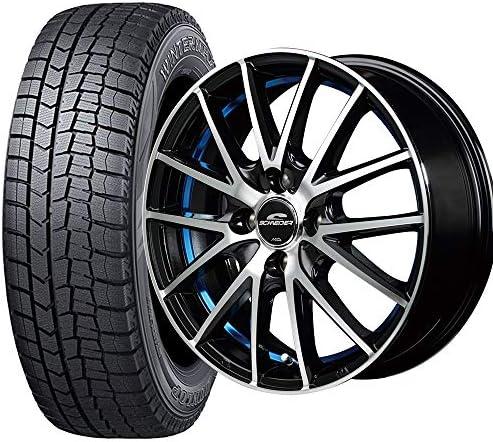 軽自動車用 4本セット (タイヤ) ダンロップ ウィンターマックス WM02 155/65R14 75Q (ホイール) シュナイダー RX27 14×4.5J PCD100/4H +45 JWL ブラックメタリックポリッシュ+アンダーカットブルークリアー 14インチ スタッドレスタイヤ ホイールセット 4本