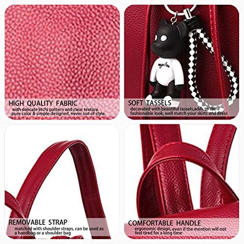 dos Cuir portés Sacs Vineux Rouge main Sacs DEERWORD Sacs portés Rouge bandoulière Faux Vineux Femme qwx118Hnt