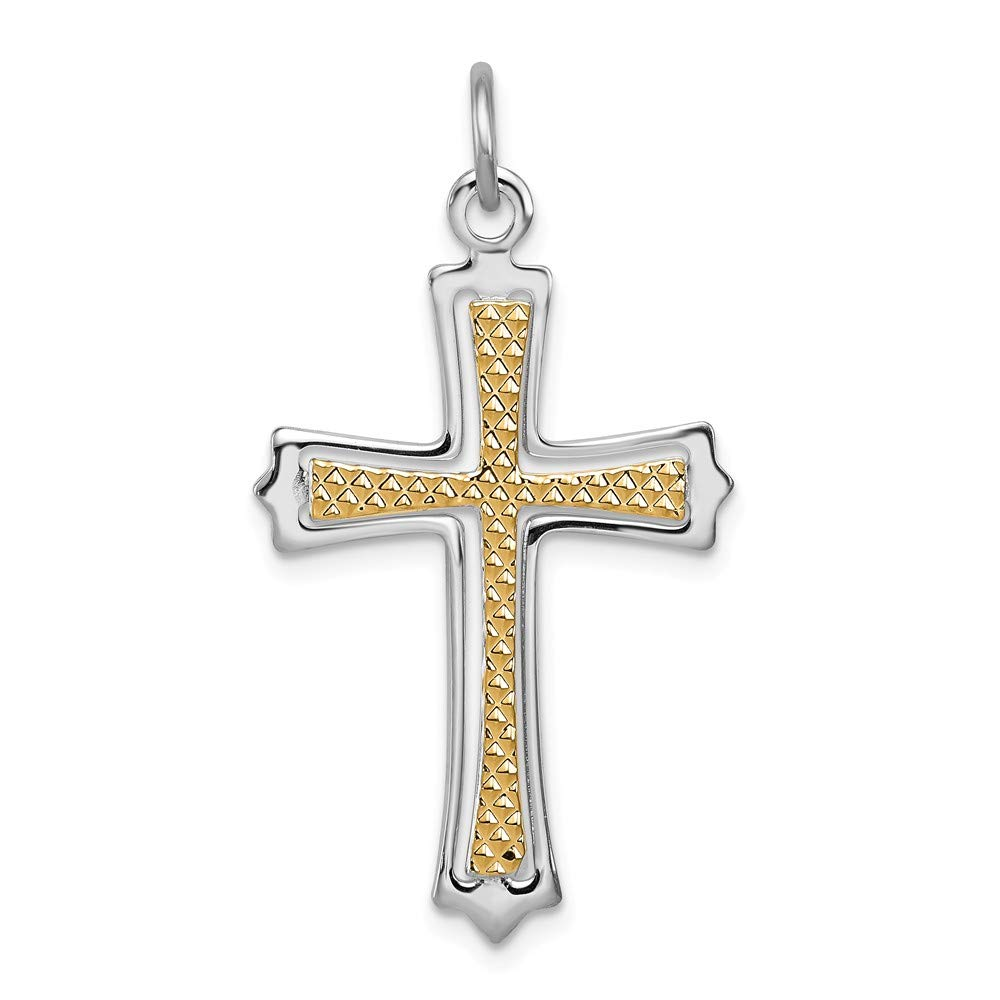 32mm x 20mm Mia Diamonds 925 Sterling Silver Solid and Gold-Tone Cross Pendant