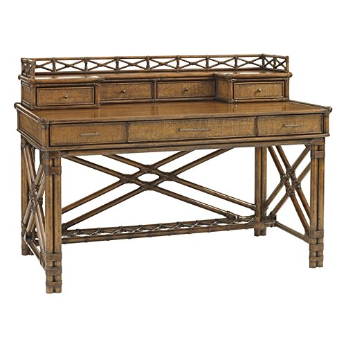 Tommy Bahama Bali Hai Enchanted Isle Desk with Hutch in Warm Brown (Bahama Rattan Tommy Furniture)