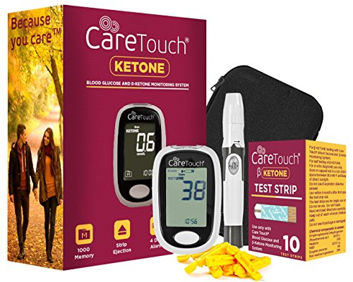 Care Touch Ketone Testing Kit – Blood Glucose and Ketone Meter w Strip Ejection, 10 Ketone Blood Test Strips, 10 Lancets, Lancing Device, Carrying Case for Diabetics and Ketogenic, Paleo, Atkins Diet