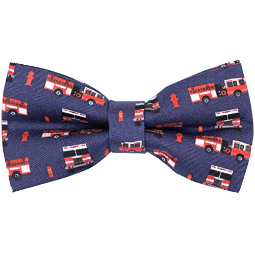 (OCIA Cotton Cute Pattern Pre-tied Bow Tie Adjustable Bowties for Mens & Boys Fire Truck)
