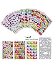 Pegatina Papel Scrapbooking Engomada Decoración Sticker Masking Tape Calendario Album de Recortes Diary Fotos Redondas Tiras Rectas (60+1 pc)