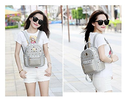 Backpack Women's silver Bag Leather Rivet Travel Mini Purse Studded Waterproof Shoulder Backpacks wqZqRIxrBO