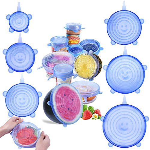 6 1/2' Rim Fruit Bowl - jooe Silicone stretch lids for food seal and bowl covers, 7 pack various size, round, blue