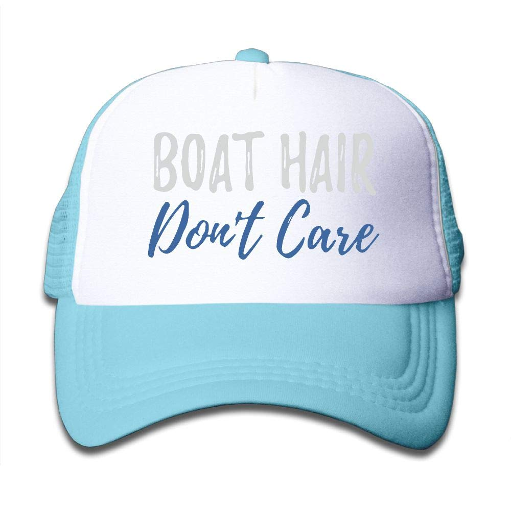 NO4LRM Kid's Boys Girls Boat Hair Don't Care Youth Mesh Baseball Cap Summer Adjustable Trucker Hat