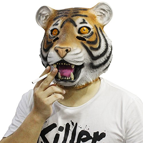 (Novelty Latex Rubber Creepy Deluxe Tiger Mask Halloween Party Costume Decorations Fits most adult)