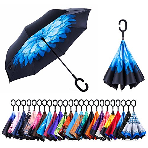Newsight Reverse/Inverted Double-Layer Waterproof Straight Umbrella, Self-Standing & C-Shape Handle & Carrying Bag for Free Hands, Inside-Out Folding for Car Use (Blue Flower)