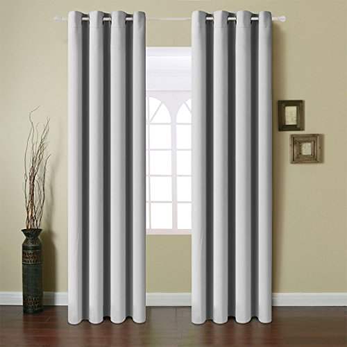 Smoke Rings Single Hook (Fairyland Blackout Window Curtains Grommet Thermal Insulated Drapes 2 Panels 250g for Bedroom&living Room(Light Grey, 52x63 in))