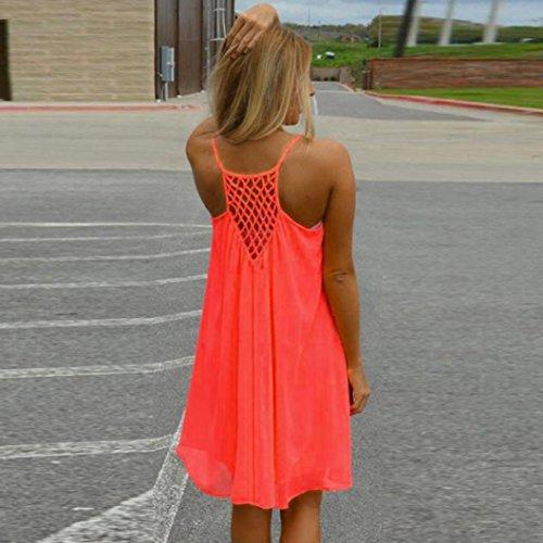 spiaggia Cross Arancione donne corto maniche solido fionda Mini Elecenty Abito senza abito da indietro q7pw71T6x