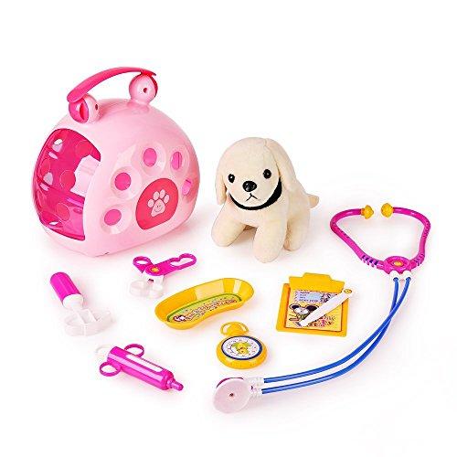 Cage Accessory Play Kit (SainSmart Jr. Pet Doctor Vet Set Pretend Play, Pet Care Veterinarian Role Play 10 PCS)