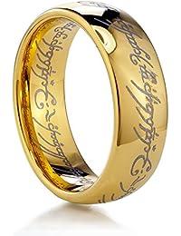 Anillo de El señor de los anillos color dorado de tungsteno