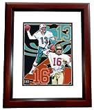 Dan Marino and Joe Montana DUAL Autographed / Hand Signed 8x10 Photo - MAHOGANY CUSTOM FRAME - Miami Dolphins - San Francisco 49ers