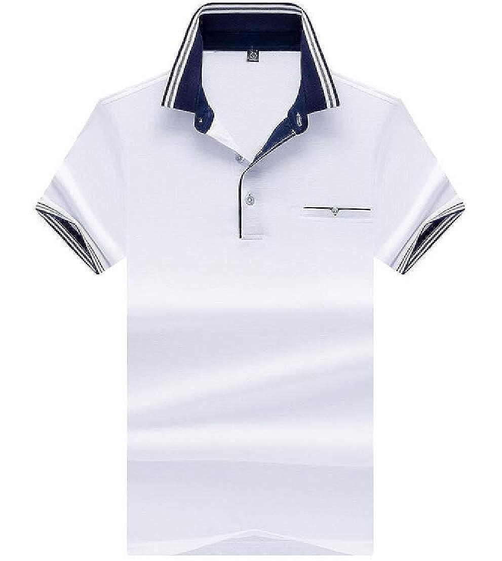 UUYUK Men Short Sleeve Lapel Color Block Slim Hipster T Shirts Tee