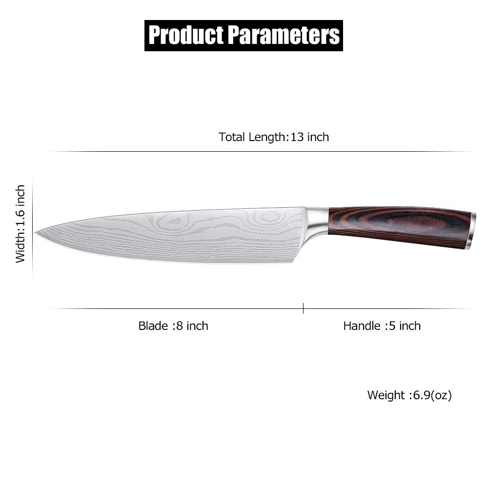 Whew Chef Knife, 8 Inch Japanese High Carbon Stainless Steel Pro Kitchen Knife with Ergonomic Handle, Razor Sharp,Stain and Corrosion Resistant,Best Choice for Home Kitchen and Restaurant by Whew (Image #6)