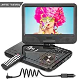 DR. J Professional 12.5'' Portable DVD Player with 5 Hours Built-in Rechargeable Battery, USB Port, SD Card Slot, 10.5 Inch Internal Swivle Screen, Region-Free, 1.8m Car Adapter and Battery Adapter