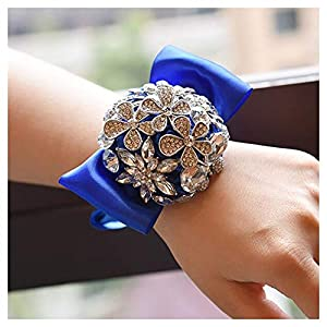HappyERA Crystal Rhinestone Wedding Wrist Corsage Prom Wrist Flower Bridesmaid Hand Flower 92