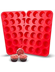 Auxcuiso 24 Cups Mini Muffin Molds Silicone Non Stick Set of 2 Packs Red