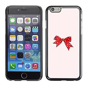FECELL CITY // Duro Aluminio Pegatina PC Caso decorativo Funda Carcasa de Protección para Apple Iphone 6 Plus 5.5 // Dot Red Pink Bowtie Peach