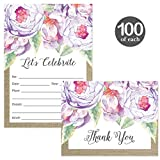 All Occasion Invitations & Folded Thank You Cards Matching Set with Envelopes ( 100 of Each ) Beautiful for Bridal Shower Engagement Birthday Party Fill-in Invites & Thank You Notes Best Value Pair