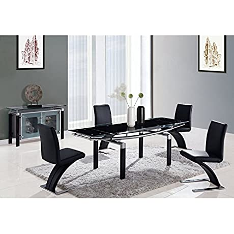 Global Furniture USA D88DT BL Global Furniture Piece Dining Table Legs Black Glass