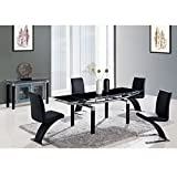 Global Furniture USA D88DT-BL-Global Furniture Piece Dining Table Legs, Black Glass
