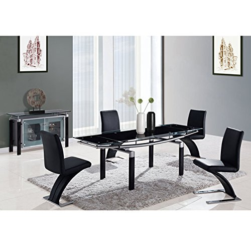 (Global Furniture USA D88DT-BL-Global Furniture Piece Dining Table Legs, Black Glass)