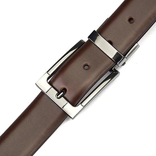 """Tanpie Reversible Belt for Men Dress Belt Leather 1 1/8"""" Wide Rotated Buckle Brown/Tan XL by Tanpie (Image #4)"""