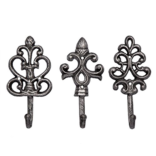 - Shabby Chic Cast Iron Decorative Wall Hooks - Rustic - Silver - Antique - French Country Charm - Large Decorative Hanging Hooks - Set of 3 - Screws and Anchors for Mounting Included- 7