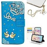 KAKA Galaxy Note 4 Glitter Wallet Case, [Card Slot] Design Floral 3D Handmade