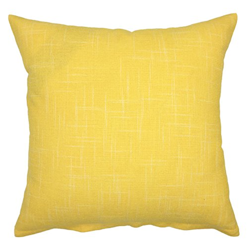 YOUR SMILE Solid Color Decorative Cotton Linen Throw Pillow Case Cushion Cover Pillowcase for Couch Sofa Bed,24 X 24 Inches,Yellow (Colorful Euro Sham Cover)