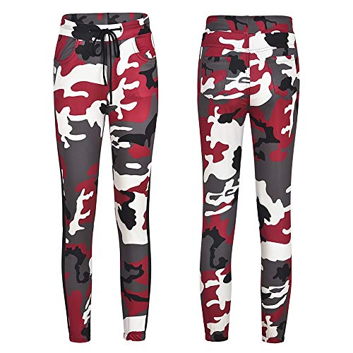 Limsea Womens Casual Camo Trousers Military Army Elastic waistt Camouflage Pants -