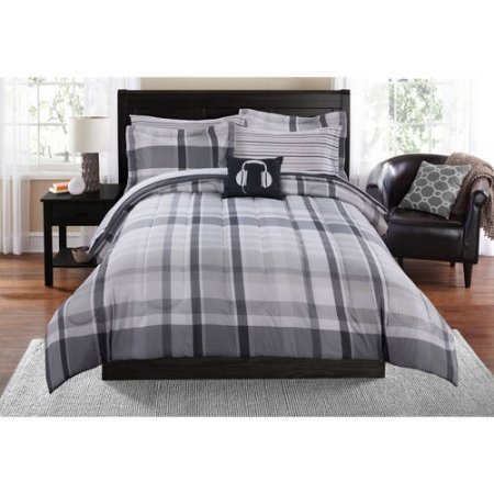 Mainstays Teen Cozy Soft Plaid Stripes Grey Bedding Queen Comforter for Boys (8 Piece in a Bag) - Black Lacquer Full Futon Frame