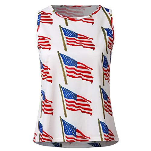 VEZAD Woman American Flag Summer Fashion Independence Day Print Mini Vest Tops -