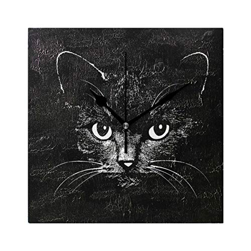 DEYYA Cat Head Square Wall Clock Modern Silent Non Ticking 8 inch Acrylic Oil Painting Texture Art Decorative Clock Bedroom Living ()