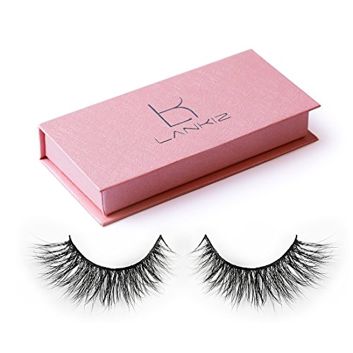 LANKIZ 3D Mink False Eyelashes, Hande-made Wispy Eyelashes Strip Lashes, Crisscross Fake Eyelashes for Women Natural Look with Package Case. ()