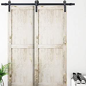 Amazon Com Single Track Bypass Sliding Barn Door Hardware
