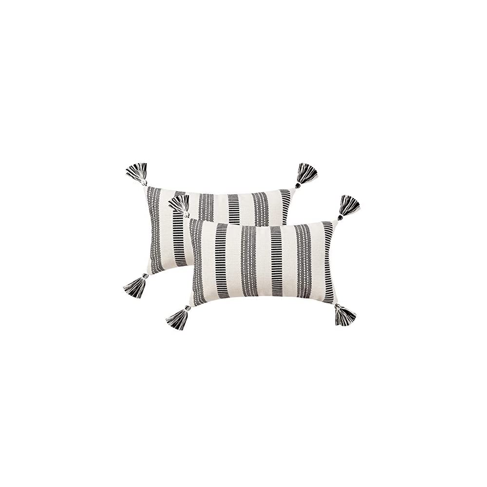 blue page Set of 2 Cotton Woven Lumbar Throw Pillow Covers, Black White Stripe Neutral Pillow Cases, Small Decorative…