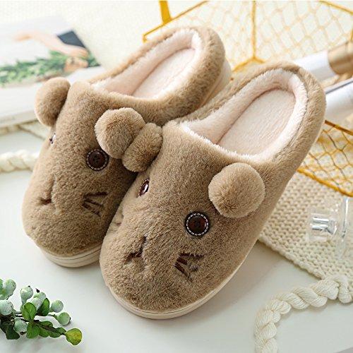 Inverno fankou pantofole di cotone coppia femminile home borsa con spesse pantofole di lana maschio caldo autunno inverno simpatico peluche, 42-43 (per 41-42 metri), colore caffè