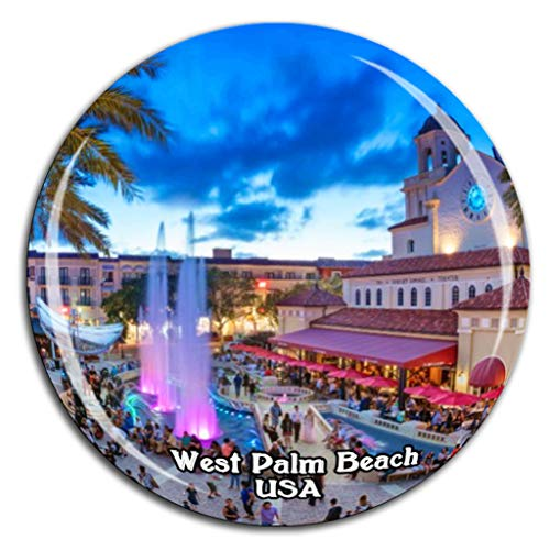 (CityPlace West Palm Beach America USA Fridge Magnet 3D Crystal Glass Tourist City Travel Souvenir Collection Gift Strong Refrigerator)