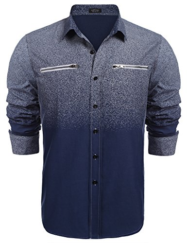 Coofandy Men's Long Sleeve Oxford Shirt,Western Style Printed Button Down Shirts With Zipper Pockets,Navy Blue,Medium