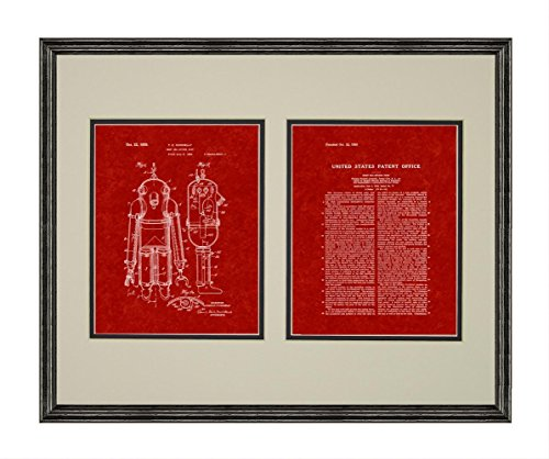 Deep Sea Diving Suit Patent Art Burgundy Red Print in a Black Wood Frame with a Double Mat (18