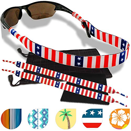 Sunglass and Glasses Safety Strap - 2 Pack with Bonus Pouch and Cleaning Cloth (Liberty)