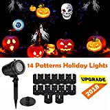 Halloween Christmas LED Projector Light Decorations, 14 Slides Multi LED Waterproof Projection Lights Lamp,Halloween Christmas Decoration Outdoor Indoor,Holiday,Party,Yard,Wall Decor